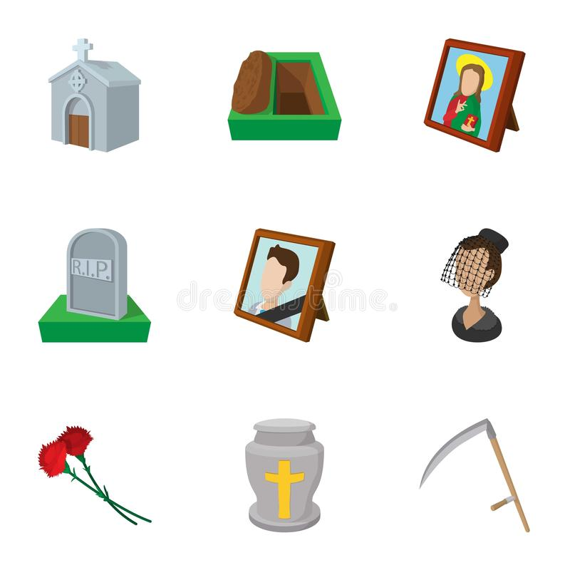 Death icons set, cartoon style vector illustration