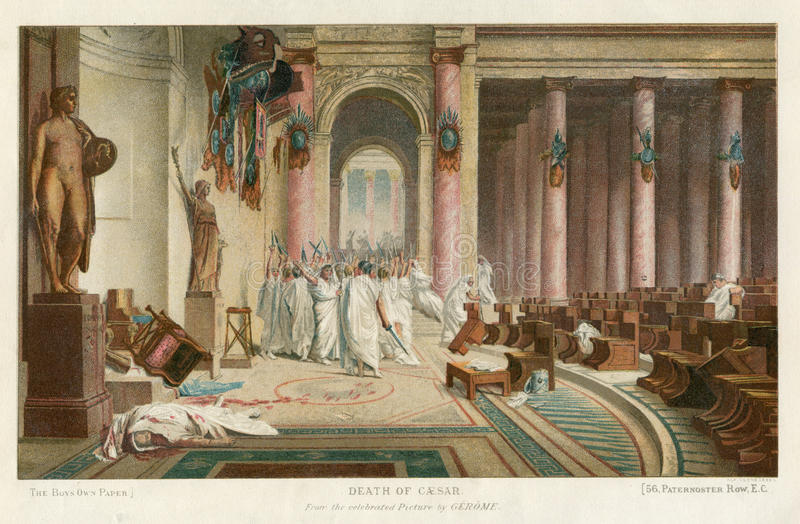 DEATH OF JULIUS CAESAR. Image is taken from an original 1890 Antique Print On 15 March 44 BCE, the Roman dictator Julius Caesar was murdered. Led by Gaius stock images