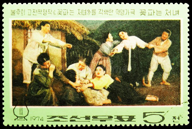 Death of Kkot Puns Mother, Revolutionary opera `The Flower Girl` serie, circa 1974. MOSCOW, RUSSIA - MAY 25, 2019: Postage stamp printed in Korea shows Death of royalty free stock photo