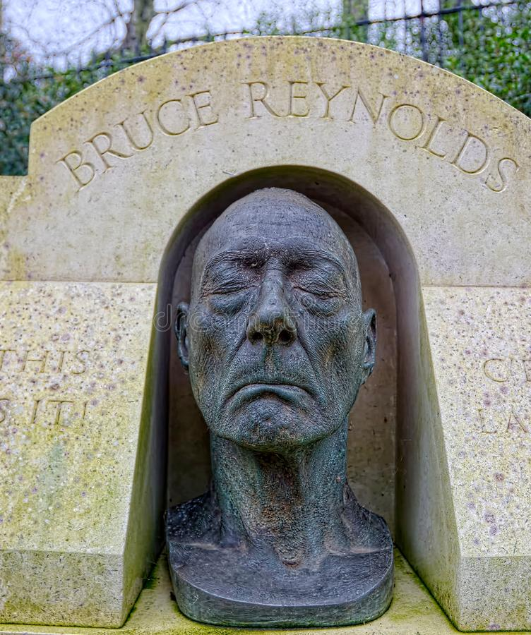 Death mask of Bruce Reynolds. Great train robber. Bruce Reynolds son, Nick, a sculptor, created his fathers death mask which lies in Highgate Cemetary, London royalty free stock photo