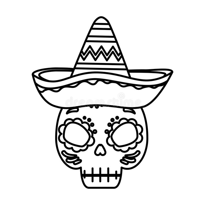 Death mask with mexican hat. Vector illustration design royalty free illustration