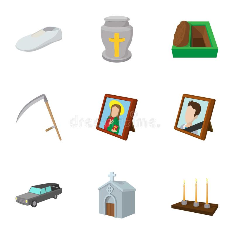 Death of person icons set, cartoon style royalty free illustration