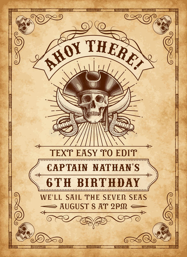Death Pirate Invite 3. Vintage Looking Invite Template for a Party or Event with Death or Pirate Theme royalty free illustration