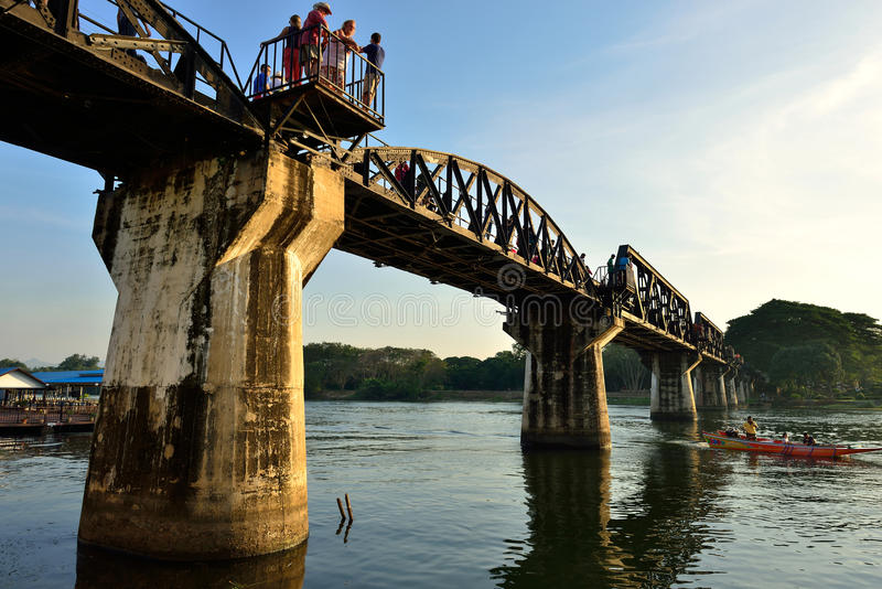 Death Railway Bridge. Over the River Kwai in Kanchanaburi, Thailand royalty free stock image