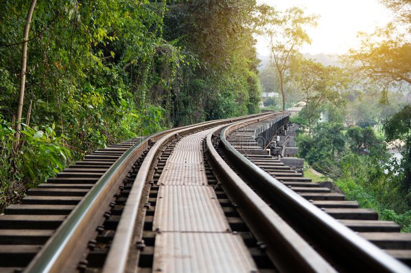 Death railway built during World War II, Kanchanaburi Thailand stock image