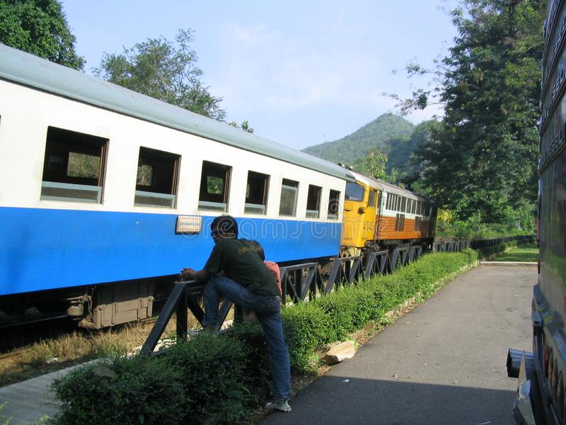 Death Railway Train Ride in Thailand stock image