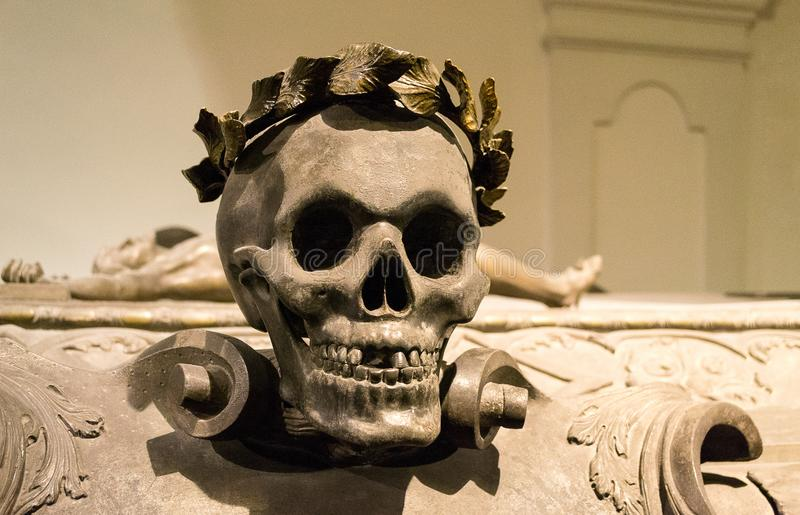 Skull on Emperor Leopold I coffin - The Imperial Crypt, Vienna, Austria. Death`s head placed on Emperor Leopold I sarcophagus - The Imperial Crypt, or stock photography