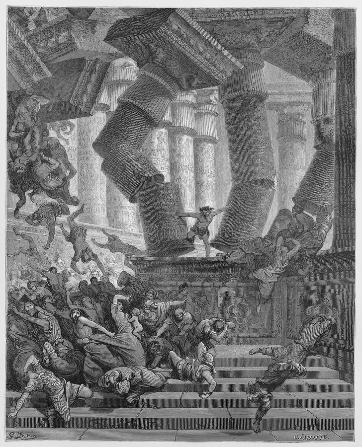The death of Samson. Picture from The Holy Scriptures, Old and New Testaments books collection published in 1885, Stuttgart-Germany. Drawings by Gustave Dore