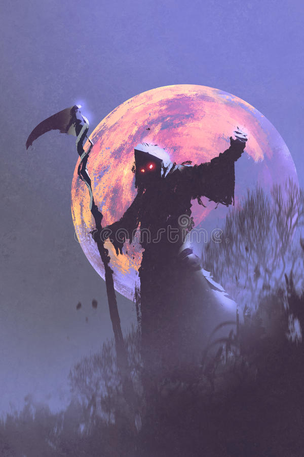 The death with scythe standing against night sky stock illustration