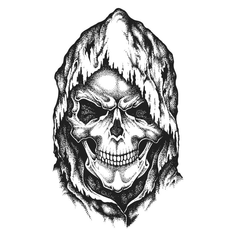 Free Death Skull Wearing Old Hood. Hand Drawn Vector Illustration Stock Images - 194847944