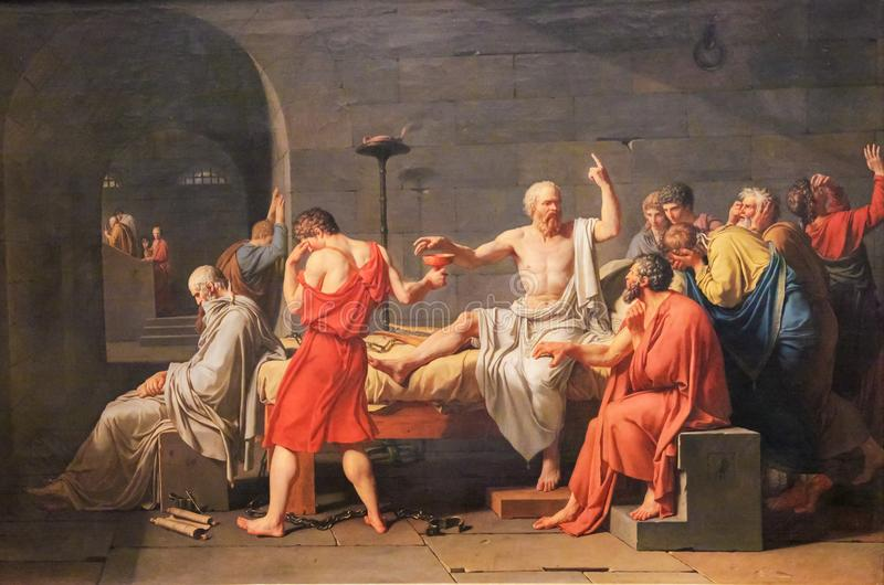 The Death of Socrates. (French: La Mort de Socrate) is an oil on canvas painted by French painter Jacques-Louis David in 1787 royalty free stock image