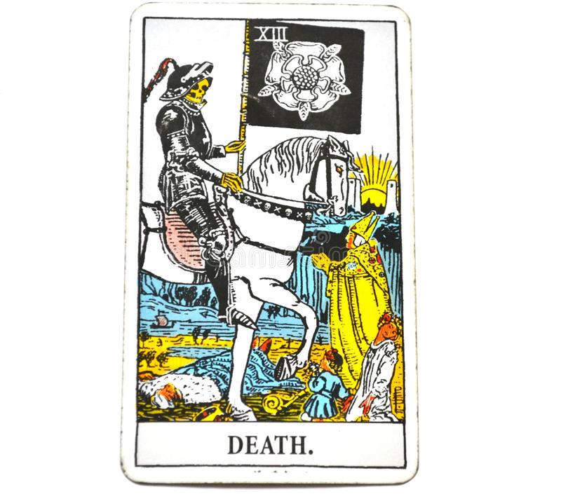 Death Tarot Card End Changes Transformation. Death Tarot Card brings End of an era Changes Transformation Rebirth and new life royalty free stock photography