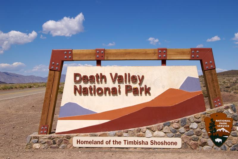 Death Valley. Entrance sign Death Valley National Park stock image