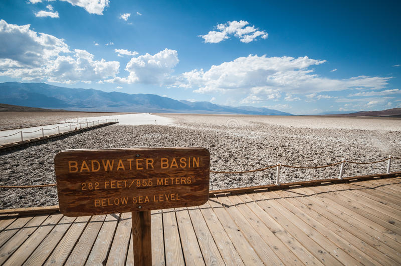 Death valley bad water basin. On below sealevel sign stock photo