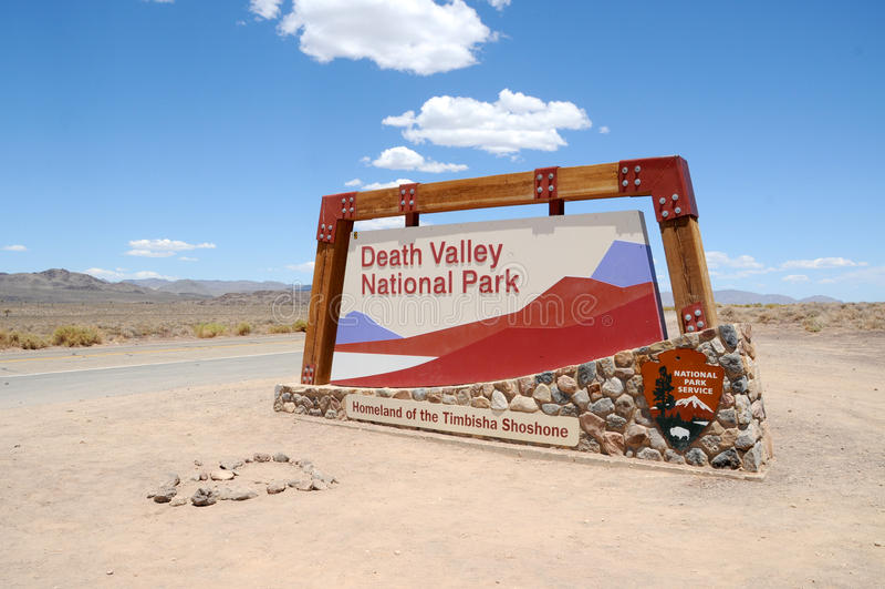 Death Valley National Park. Enrty Sign at Death Valley National Park stock image