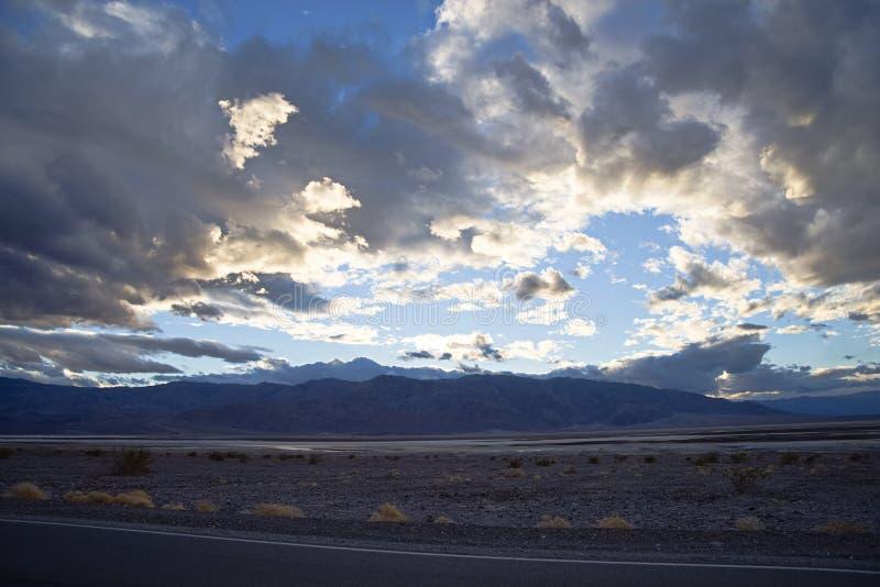 Death Valley National Park rain clouds. Death valley national park landscapes. clouds, rocks, desertfloor stock photo