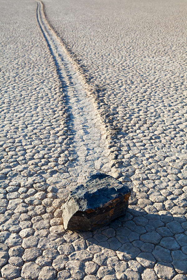 Death Valley Racetrack Playa rock on lake bed stock photography