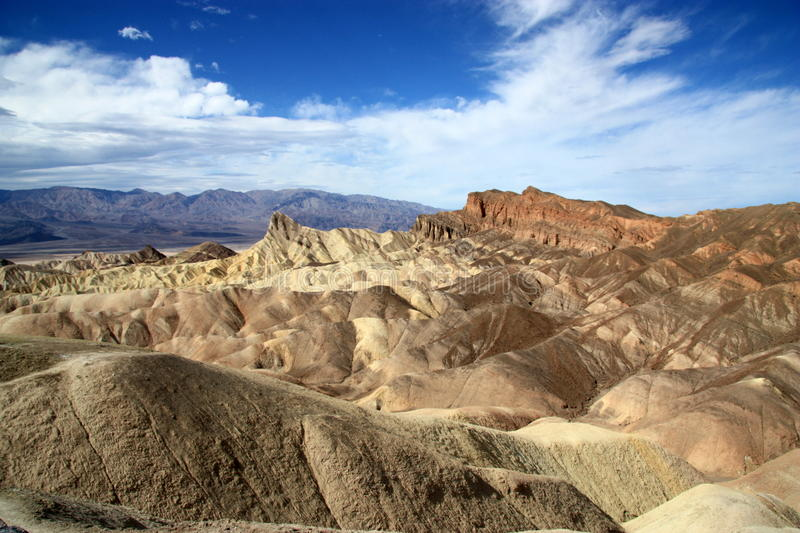 Death Valley Zabriskie Point. Showing mountains with blue sky background royalty free stock images
