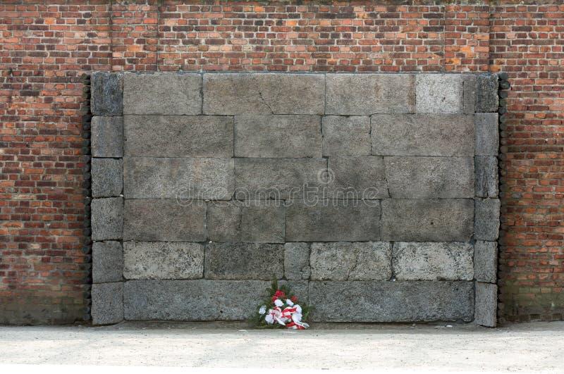 The Death Wall, Auschwitz-Birkenau concentration camp. Poland royalty free stock photos