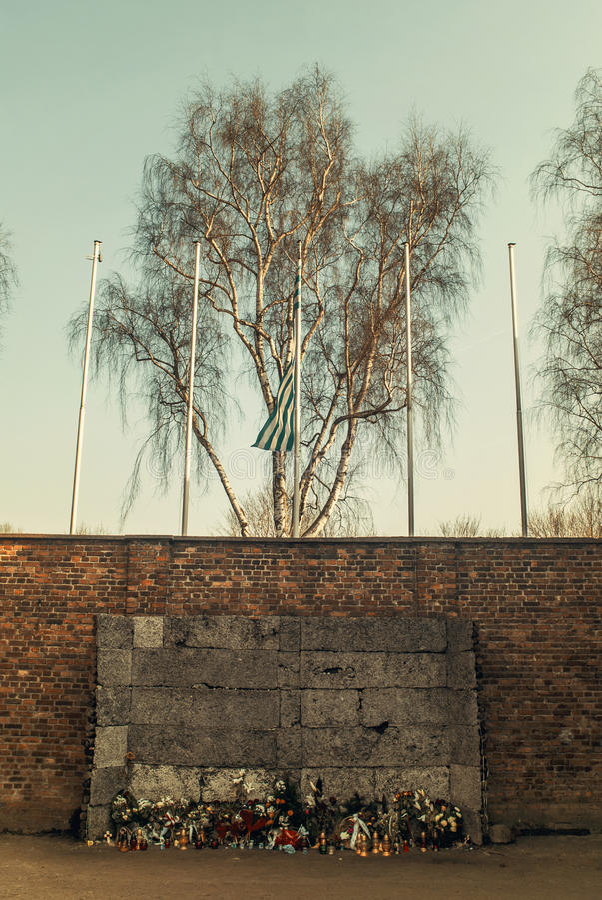 The Death Wall, Auschwitz-Birkenau concentration camp, Poland. Auschwitz Concentration camp for extermination, Poland royalty free stock photography