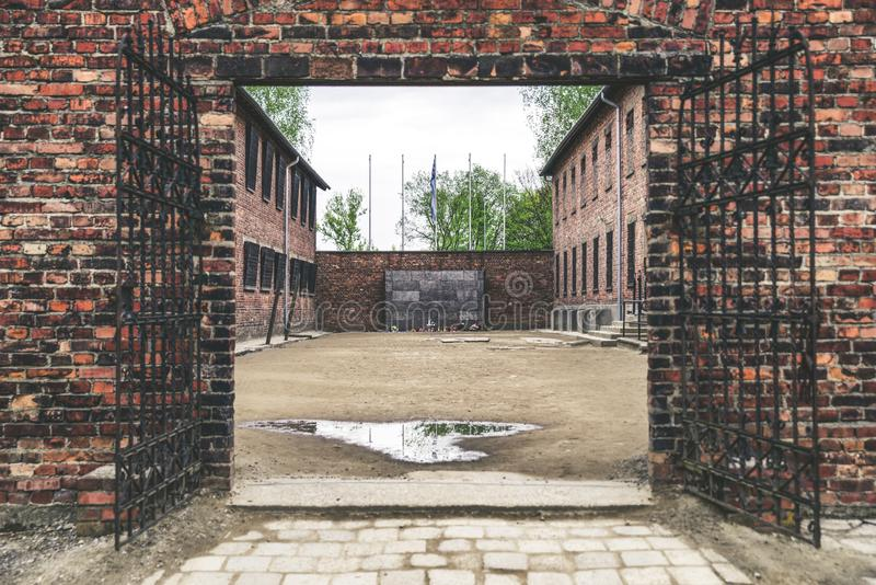 The death wall at concentration camp in Auschwitz, Poland. The death wall at Concentration camp in Auschwitz I, Poland royalty free stock image