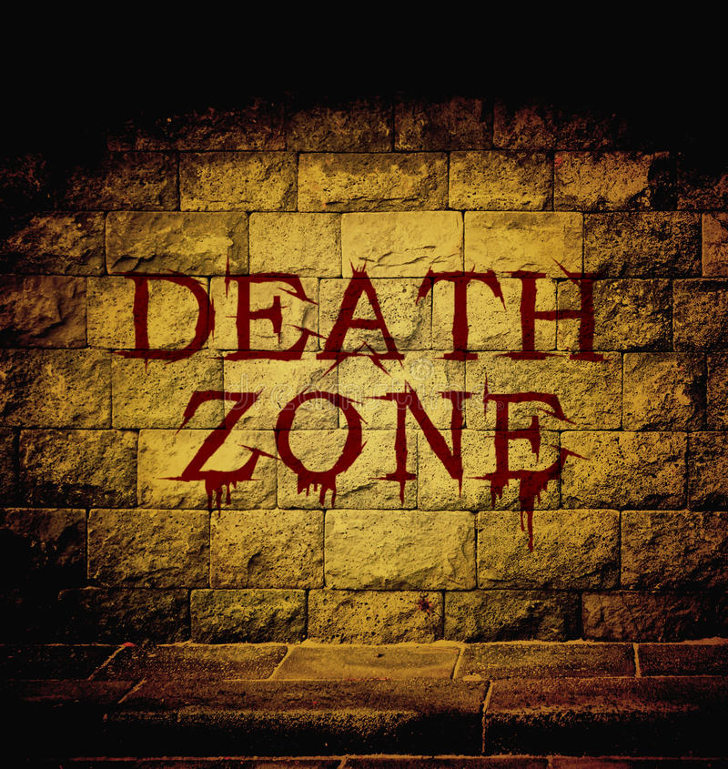 Death zone blood text. At the brick wall with dim light royalty free illustration