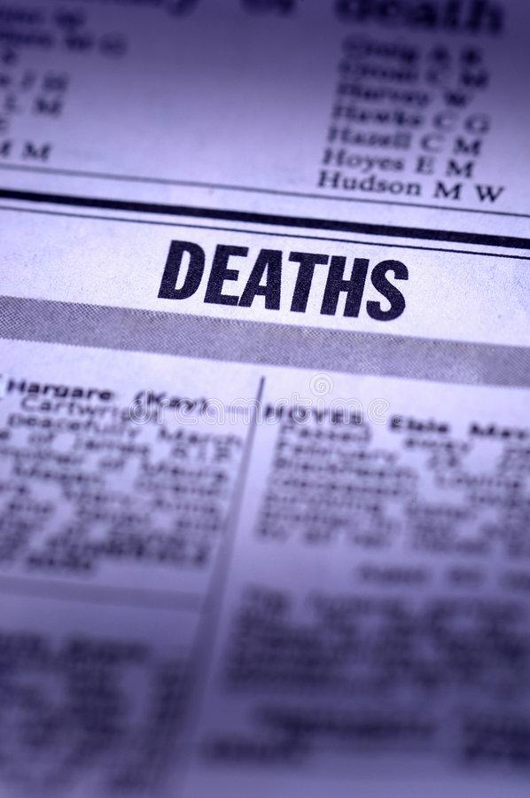 Deaths Notice stock image