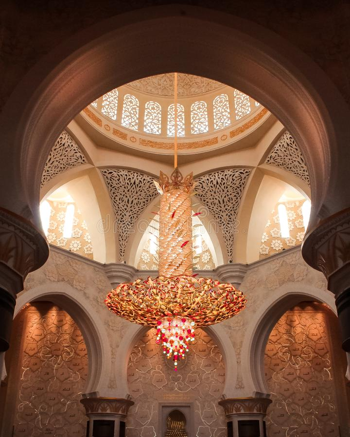 Detailed shot historic mosque abu dhabi. Nice ambient image of the abu dhabi mosque with good lighting and details stock photo