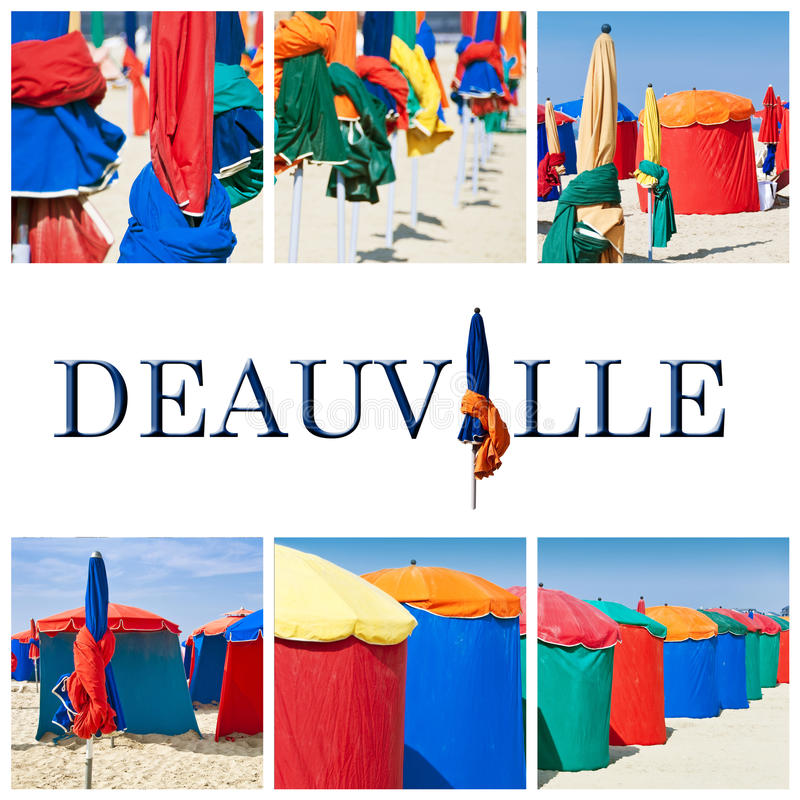 Deauville beach collage. Deauville beach colorful parasols collage royalty free stock images