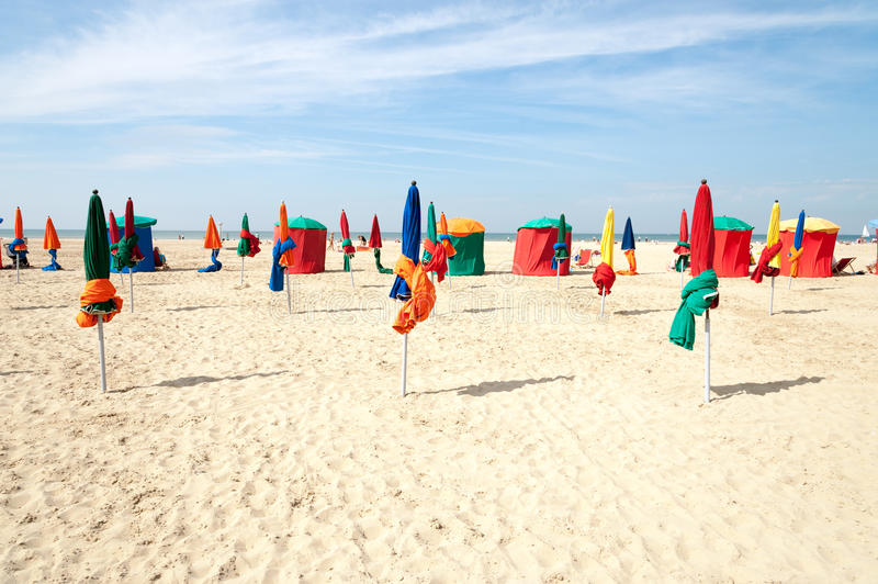 Deauville beach. Colorful tents and umbrellas on famous Deauville beach, Normandy stock image