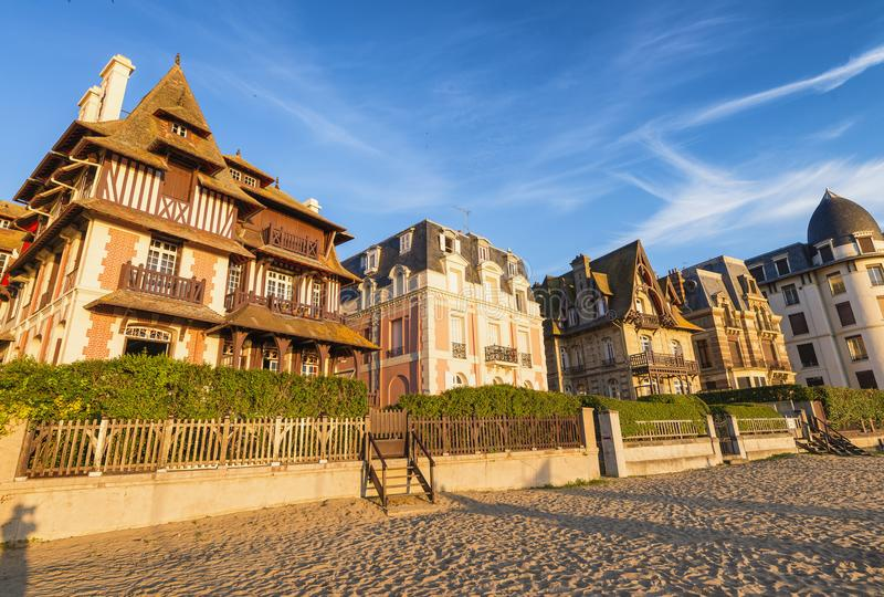 Deauville beach in Normandy, France at sunset.  royalty free stock photo
