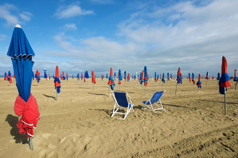 Deauville beach view. Deauville beach in Normandy, France royalty free stock photography