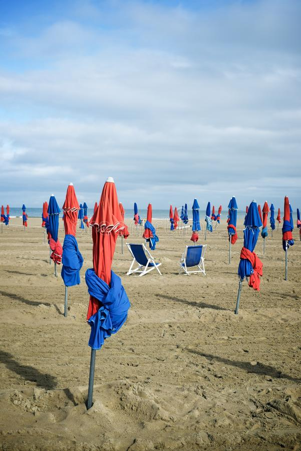 Deauville beach view. Deauville beach in Normandy, France royalty free stock image