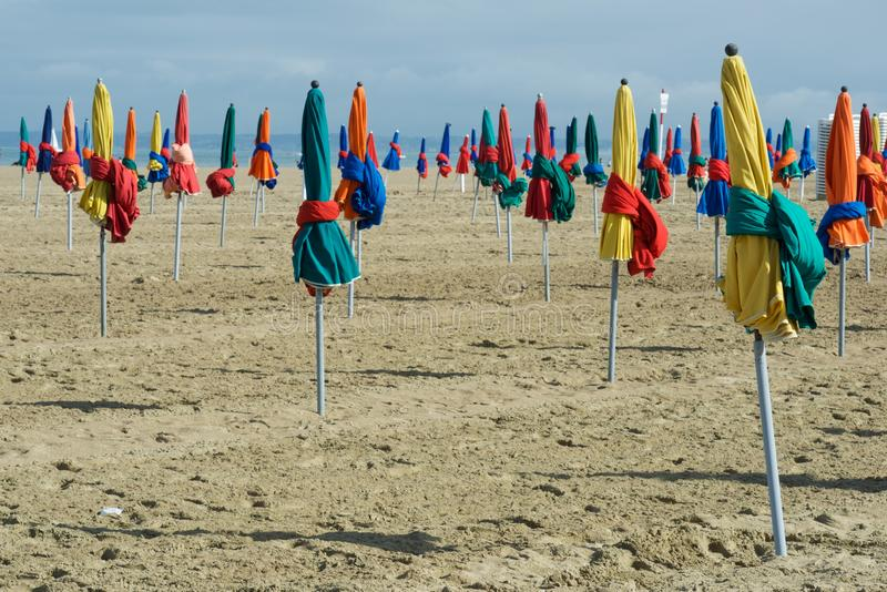 Deauville beach view. Deauville beach in Normandy, France royalty free stock photos