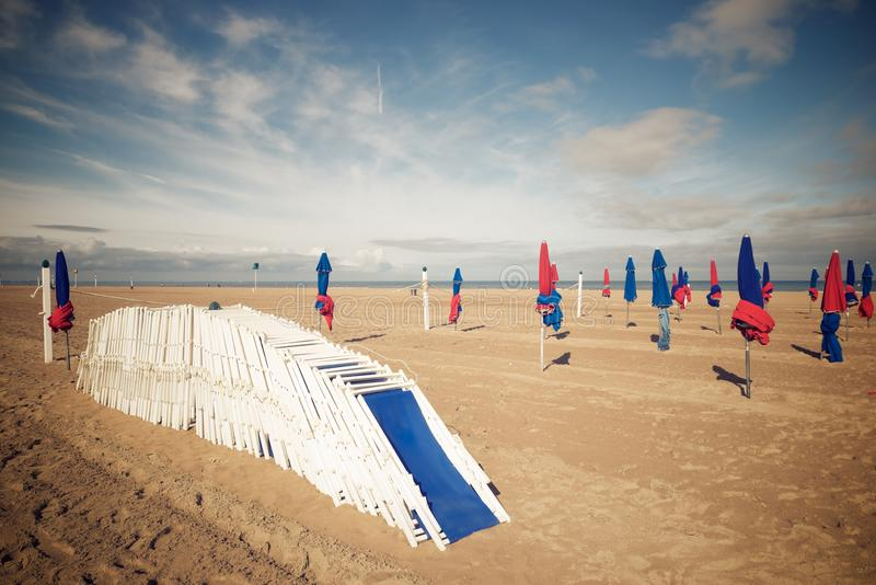 Deauville beach view. Deauville beach in Normandy, France stock photography