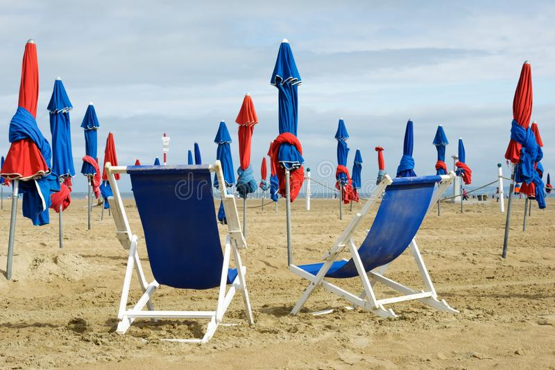Deauville beach view. Deauville beach in Normandy, France stock photos