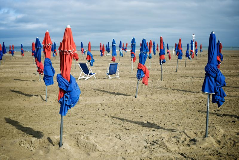 Deauville beach view. Deauville beach in Normandy, France royalty free stock images