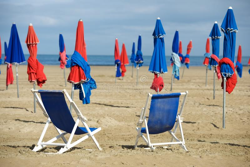 Deauville beach view. Deauville beach in Normandy, France stock images