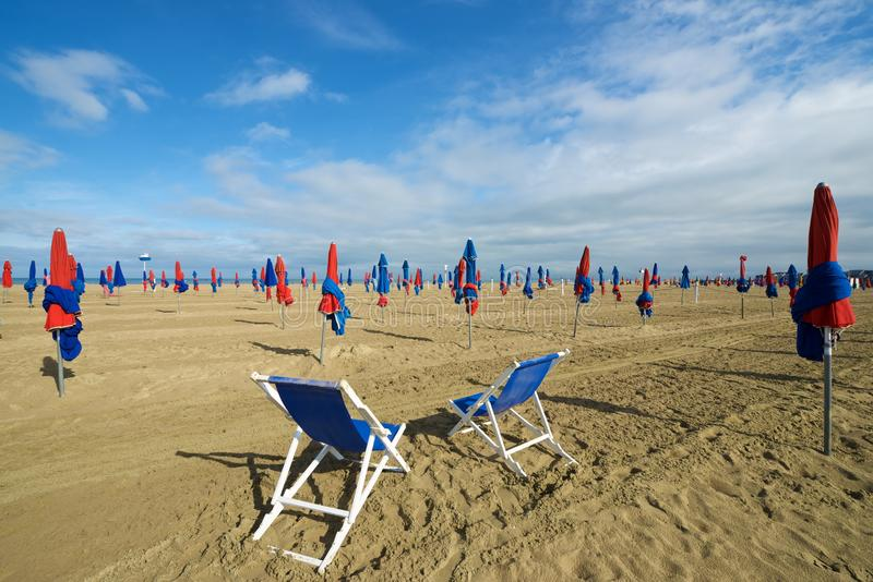 Deauville beach view. Deauville beach in Normandy, France stock image