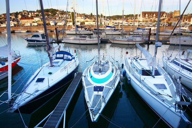 Deauville. Boats in Deauville on a beautiful sunset stock photo