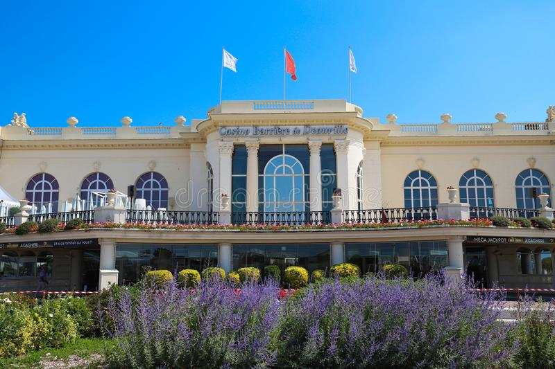 Casino Barriere de Deauville Fr: Deauville Le Normandy the casino beautiful building at the seaside. DEAUVILLE, FRANCE-July 14 ,2018: Casino Barriere de stock images