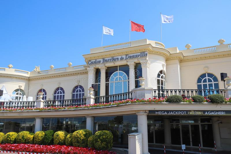 Casino Barriere de Deauville Fr: Deauville Le Normandy the casino beautiful building at the seaside. DEAUVILLE, FRANCE-July 14 ,2018: Casino Barriere de stock photo