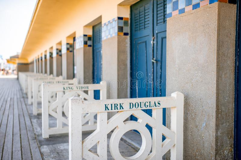 Locker rooms on the beach in Deauville, France stock image
