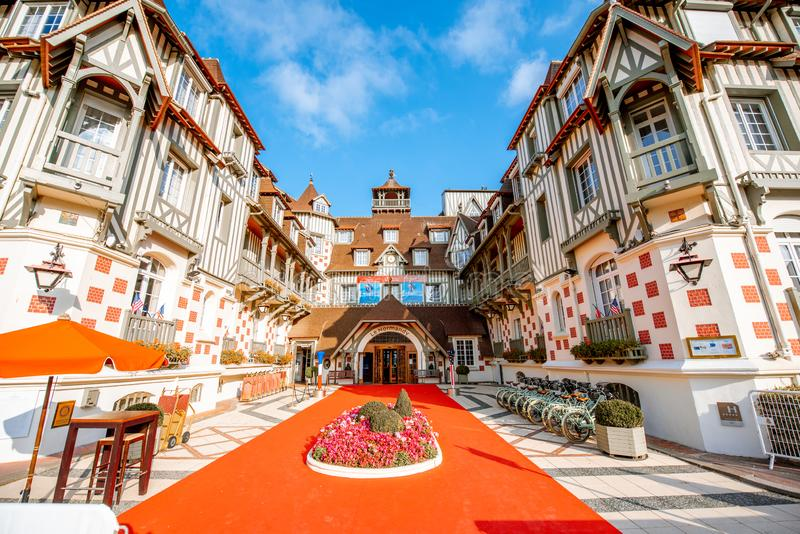 He Hotel Barriere Le Normandy in Deauville. DEAUVILLE, FRANCE - September 06, 2017: The Hotel Barriere Le Normandy, grand hotel of the Groupe Lucien Barriere at stock images
