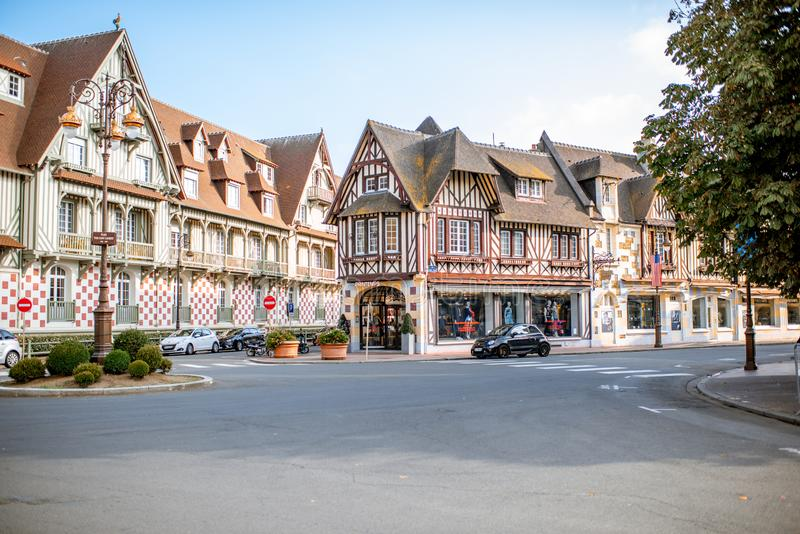 Deauville town in France. DEAUVILLE, FRANCE - September 06, 2017: Street view with beautiful old houses in the center of Deauville town, Famous french resort in royalty free stock photo