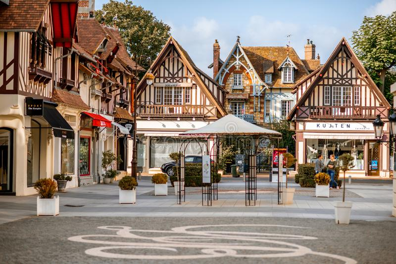 Deauville town in France. DEAUVILLE, FRANCE - September 06, 2017: Street view with beautiful old houses in the center of Deauville town, Famous french resort in stock photography