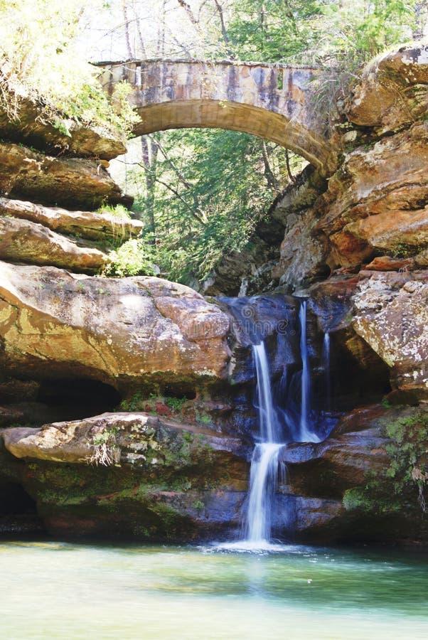 Debajo de la cascada del puente fotografía de archivo libre de regalías