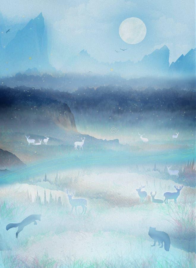 Debajo de la montaña hermosa, los restos de los ciervos y del zorro por el lago y jugar en paisaje singular stock de ilustración