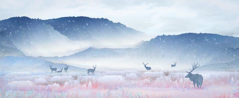 Debajo de la montaña nevosa, el ciervo del sika está descansando sobre el lago y el agua potable, jugando en el paisaje del país  stock de ilustración