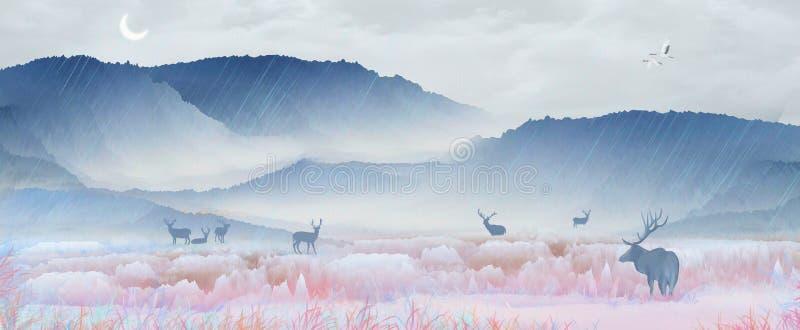 Debajo de la montaña nevosa, el ciervo del sika está descansando sobre el lago y el agua potable, jugando en el paisaje del país  ilustración del vector